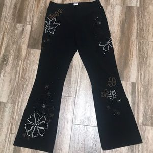 Sz 8 Beaded Embroidered & Sequined! Black pants